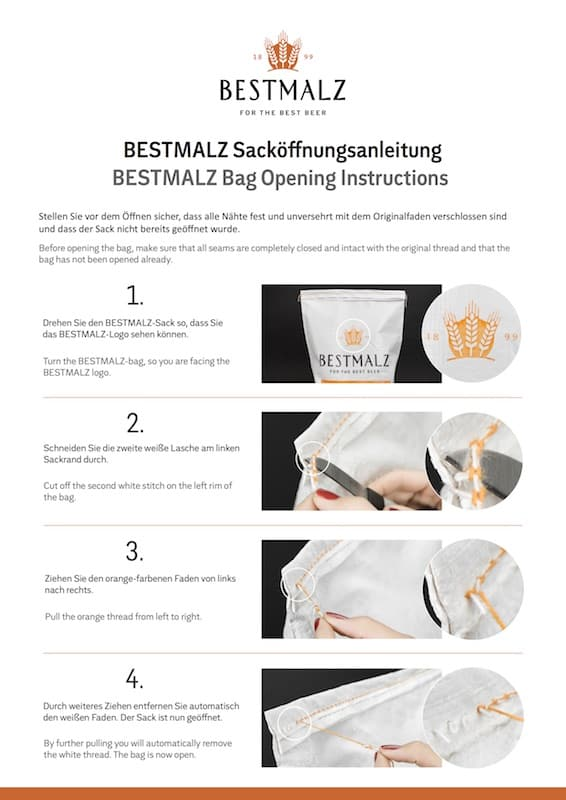 Bestmalz bag opening instructions